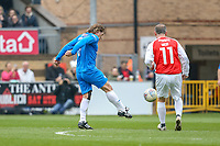 Gareth Ainsworth shoots during the Celebrity football match in aid of the charity's 'Keep Moving Forward' programme which benefits people with mental health issues put together by Wycombe Wanderers Sports & Education Trust and Sellebrity Soccer Football Match at Adams Park, High Wycombe, England on 7 April 2019. Photo by David Horn.