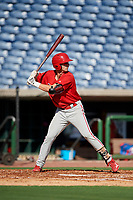 Philadelphia Phillies Madison Stokes (15) at bat during a Florida Instructional League game against the New York Yankees on October 12, 2018 at Spectrum Field in Clearwater, Florida.  (Mike Janes/Four Seam Images)