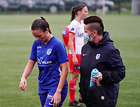Genk's medic is walking away from the pitch with Genk's Kayleigh Rigo (16) during a female soccer game between the women teams of Zulte Waregem A Dames and KRC Genk Ladies B on the 1/16 th qualifying round for the Belgian Womens Cup 2020  2021 , on saturday 26 th of September 2020  in Zulte , Belgium . PHOTO SPORTPIX.BE | SPP | SEVIL OKTEM
