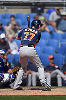 Houston Astros third baseman Colin Moran (77) during a Spring Training game against the Toronto Blue Jays on March 9, 2015 at Florida Auto Exchange Stadium in Dunedin, Florida.  Houston defeated Toronto 1-0.  (Mike Janes/Four Seam Images)