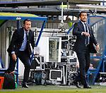 Nederland, Heerenveen, 21 mei 2015<br /> Seizoen 2014-2015<br /> SC Heerenveen-Feyenoord<br /> Giovanni van Bronckhorst bij zijn debuut als trainer van Feyenoord. Links Jean Paul van Gastel
