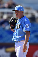 Wilmington Blue Rocks pitcher Daniel Stumpf (15) looks to the dugout during a game against the Myrtle Beach Pelicans on April 27, 2014 at Frawley Stadium in Wilmington, Delaware.  Myrtle Beach defeated Wilmington 5-2.  (Mike Janes/Four Seam Images)