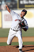 Tyson Perez #29 of the Lancaster JetHawks pitches against the Lake Elsinore Storm at Clear Channel Stadium on May 11, 2012 in Lancaster,California. (Larry Goren/Four Seam Images)