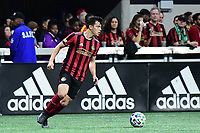ATLANTA, GA - MARCH 07: ATLANTA, GA - MARCH 07: Atlanta United defender Fernando Meza runs down the ball during the match against FC Cincinnati, which Atlanta won, 2-1, in front of a crowd of 69,301 at Mercedes-Benz Stadium during a game between FC Cincinnati and Atlanta United FC at Mercedes-Benz Stadium on March 07, 2020 in Atlanta, Georgia.