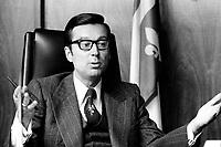 Photo du Premier ministre Robert Bourassa, dans son bureau de Montreal, <br /> entre 1972 et 1976 , date inconnue<br /> <br /> Photo : Agence Quebec Presse  - Alain Renaud