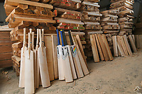 BNPS.co.uk (01202) 558833<br /> Pic: ZacharyCulpin/BNPS<br /> <br /> Stages of the cricket bat from the cut of willow to the finished product<br /> <br /> Master bat maker Tim Keeley is putting the finishing touches to his beautifully hand-crafted pieces of willow ahead of the forthcoming cricket season.<br /> <br /> Tim, 62, has made almost half a million bats since starting out as an apprentice at Gray Nicholls aged 16 in 1975.<br /> <br /> He is the founder of family business Keeley Cricket, in Battle, East Sussex, which he runs with his brother Nick who has 35 years of bat-making experience.