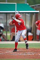 GCL Nationals left fielder Justin Connell (11) at bat during the second game of a doubleheader against the GCL Marlins on July 23, 2017 at Roger Dean Stadium Complex in Jupiter, Florida.  GCL Nationals defeated the GCL Marlins 1-0.  (Mike Janes/Four Seam Images)