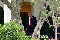 United States President Donald J. Trump walks out from the Oval Office of the White House in Washington, DC before his departure to Maine on June 5, 2020. Trump is going to participate in a roundtable on supporting commercial fishermen and tour Puritan Medical Products in Guilford. <br /> Credit: Yuri Gripas / Pool via CNP/AdMedia