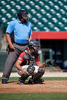 Catcher Angelo Cantelo (14) during the Dominican Prospect League Elite Underclass International Series, powered by Baseball Factory, on August 1, 2017 at Silver Cross Field in Joliet, Illinois.  (Mike Janes/Four Seam Images)