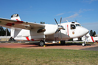 Calfire Grumman S2-T Turbo Tracker stands at the ready at the Grass Valley Air Attack Base. The Turbo Tracker is a civilian conversion of the Navy's S-2 Tracker. The Calfire fleet, formerly California Department of Forestry, includes 23 of the Turbo Trackers located throughout the state. Each aircraft is capable of carrying 1200 gallons of water or retardant and able to reach a fire within 20 minutes.