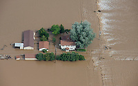 Farmhouse along South Platte River, floodwaters, near Greeley, Colorado