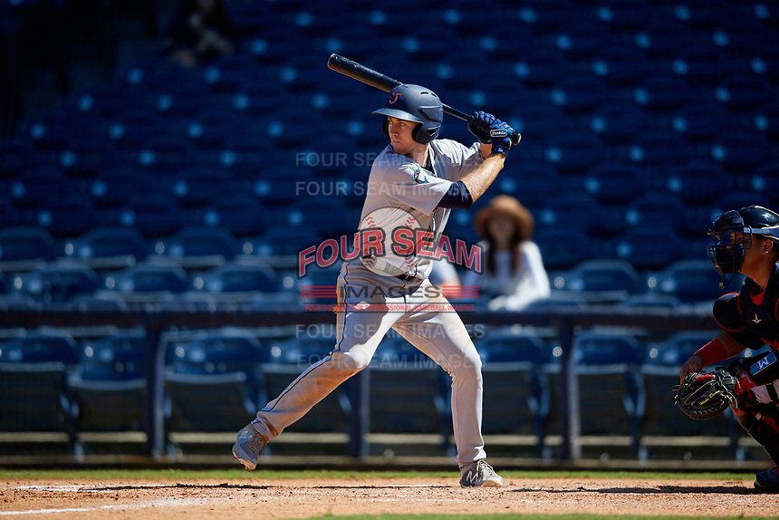 Jacksonville Jumbo Shrimp Brian Miller (5) at bat during a Southern League game against the Mississippi Braves on May 5, 2019 at Trustmark Park in Pearl, Mississippi.  Mississippi defeated Jacksonville 1-0 in ten innings.  (Mike Janes/Four Seam Images)