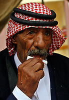 """Gaza.15.05.2008.A Palestinian man Bedouin  attends a ceremony marking the 'Nakba' (Catastrophe) in Gaza City on May 15, 2008. Palestinians protested across the occupied territories on the 60th anniversary of the 'catastrophe' of the birth of Israel today as the Jewish state's army went on high alert """"photo by Fady Adwan"""""""