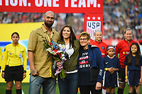 San Diego, CA - Sunday January 21, 2018: Jerramy Stevens, Hope Solo prior to an international friendly between the women's national teams of the United States (USA) and Denmark (DEN) at SDCCU Stadium.
