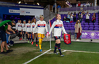 ORLANDO, FL - FEBRUARY 24: Becky Sauerbrunn #4 of the USWNT enters the field before a game between Argentina and USWNT at Exploria Stadium on February 24, 2021 in Orlando, Florida.