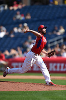 Philadelphia Phillies pitcher Phillippe Aumont (48) during an exhibition game against the University of Tampa on March 1, 2015 at Bright House Field in Clearwater, Florida.  University of Tampa defeated Philadelphia 6-2.  (Mike Janes/Four Seam Images)
