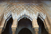 Arabesque Moorish stalactite or morcabe ceilings,  Palacios Nazaries  of the Alhambra. Granada, Andalusia, Spain.