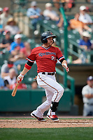 Rochester Red Wings left fielder J.B. Shuck (21) bats during a game against the Columbus Clippers on August 9, 2017 at Frontier Field in Rochester, New York.  Rochester defeated Columbus 12-3.  (Mike Janes/Four Seam Images)