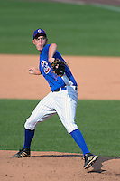 Pitcher Micah Miniard (34) of Boyle County High School in Danville, Kentucky playing for the Chicago Cubs scout team during the East Coast Pro Showcase on August 1, 2013 at NBT Bank Stadium in Syracuse, New York.  (Mike Janes/Four Seam Images)