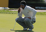 3 October 2008: Jason Day lines up a putt during his second round 69 at the Turning Stone Golf Championship in Verona, New York.