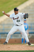 Winston-Salem relief pitcher John Lujan (48) in action versus Myrtle Beach at Ernie Shore Field in Winston-Salem, NC, Monday, May 28, 2007.