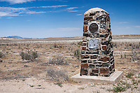 An obelisk marks the location of the Riverbed Pony Express Station in Utah's Great Salt Lake Desert. This Pony Express Station was located 8 miles from Simpson Springs and named after the dry riverbed that it was built on. The Civilian Conservation Corps (CCC) erected numerous markers in 1939 and 1940 to mark the location of Pony Express stations. Photographed 07/07