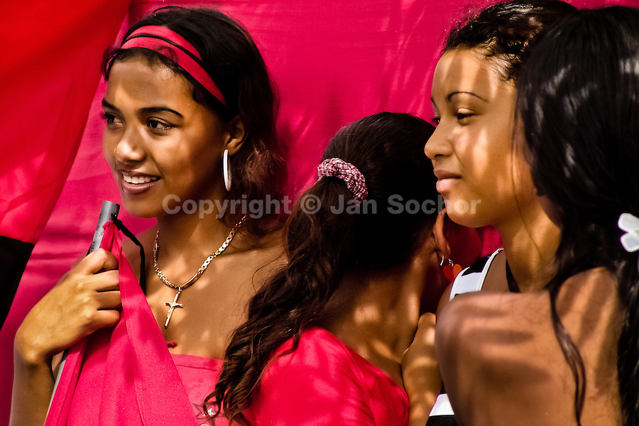 A group of young Nicaraguan girls hold the black-and-red Sandinista flags during the pre-election meeting in San Juan del Sur, Nicaragua, 16 October 2004. The Sandinista National Liberation Front (in Spanish: Frente Sandinista de Liberación Nacional, or FSLN) is a socialist political party in Nicaragua. The FSLN is one of Nicaragua's two leading parties. Sandinistas took their name from Augusto César Sandino (1895-1934), the historical leader of Nicaragua's nationalist rebellion against the US occupation of the country in the 1930s. In 1979 the FSLN overthrew the Somoza dynasty and ruled Nicaragua from 1979 to 1990. They left power in 1990 after free elections. In 2006, the former President Daniel Ortega, the leader of the party, was re-elected President of Nicaragua.