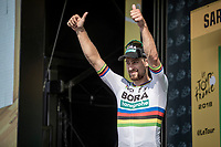 World Champion Peter Sagan (SVK/Bora Hansgrohe) ready to receive yet another green jersey.<br /> <br /> Stage 4: La Baule > Sarzeau (192km)<br /> <br /> 105th Tour de France 2018<br /> ©kramon