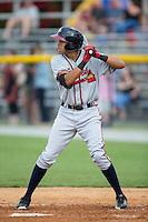 Kurt Hoekstra (25) of the Danville Braves at bat against the Burlington Royals at Burlington Athletic Park on July 12, 2015 in Burlington, North Carolina.  The Royals defeated the Braves 9-3. (Brian Westerholt/Four Seam Images)