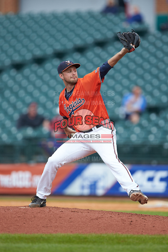 Virginia Cavaliers relief pitcher Alec Bettinger (13) in action against the Duke Blue Devils in Game Seven of the 2017 ACC Baseball Championship at Louisville Slugger Field on May 25, 2017 in Louisville, Kentucky. The Blue Devils defeated the Cavaliers 4-3. (Brian Westerholt/Four Seam Images)