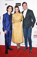 Timothee Chalamet, Elizabeth Chambers and Armie Hammer<br /> arriving for the Critic's Circle Film Awards 2018, Mayfair Hotel, London<br /> <br /> <br /> ©Ash Knotek  D3374  28/01/2018