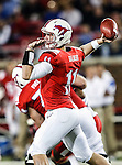 Southern Methodist Mustangs quarterback Garrett Gilbert (11) in action during the game between the University of Houston Cougars and the Southern Methodist Mustangs at the Gerald J. Ford Stadium in Dallas, Texas. SMU defeats Houston 72 to 42...