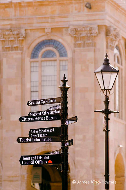 A finger-post sign erected by the local Vale of White Horse council near the church of St. Nicholas in Abingdon-on-Thames, UK.