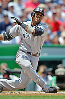 16 June 2012: New York Yankees infielder Robinson Cano in action against the Washington Nationals at Nationals Park in Washington, DC. The Yankees defeated the Nationals in 14 innings by a score of 5-3, taking the second game of their 3-game series. Mandatory Credit: Ed Wolfstein Photo