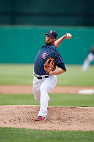 Syracuse Chiefs relief pitcher David Goforth (32) delivers a pitch during a game against the Lehigh Valley IronPigs on May 20, 2018 at NBT Bank Stadium in Syracuse, New York.  Lehigh Valley defeated Syracuse 5-2.  (Mike Janes/Four Seam Images)