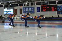 SPEEDSKATING: 14-02-2020, Utah Olympic Oval, ISU World Single Distances Speed Skating Championship, Team Pursuit Ladies, Team Netherlands (NED), Ireen Wüst, Antoinette de Jong, Melissa Wijfje, ©Martin de Jong