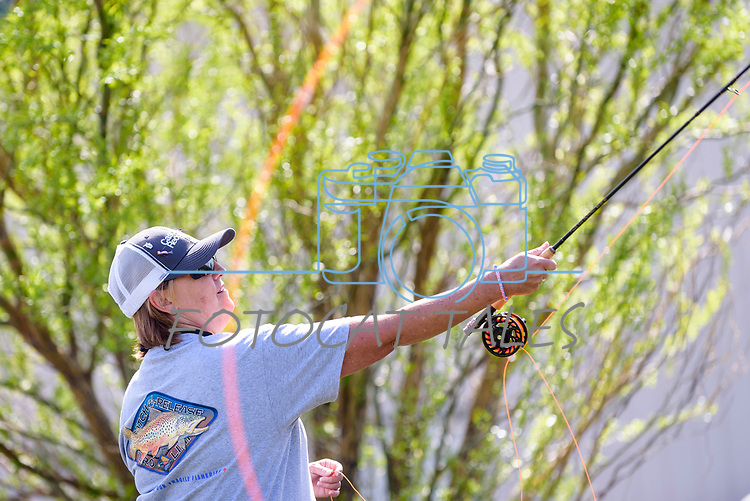 Adrienne Priewe learns to fly fish during the Casting for Recovery fishing clinic at Bently Ranch in Gardnerville, Nev. May 4, 2018.<br /> Photo by Candice Vivien/Nevada Momentum