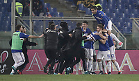 Calcio, Serie A: AS Roma - Sampdoria, Roma, stadio Olimpico, 28 gennaio 2018. i<br /> Sampdoria's Duvàn Zapata celebrates after scoring with his teammates during the Italian Serie A football match between AS Roma and Sampdoria at Rome's Olympic stadium, January 28, 2018.<br /> UPDATE IMAGES PRESS/Isabella Bonotto