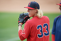 Salem Red Sox pitcher Jordan Weems (33) during practice before the first game of a doubleheader against the Potomac Nationals on May 13, 2017 at G. Richard Pfitzner Stadium in Woodbridge, Virginia.  Potomac defeated Salem 6-0.  (Mike Janes/Four Seam Images)