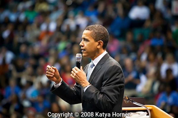 Then Senator Barack Obama at Reunion Arena in Dallas, Texas during presidential primary season.