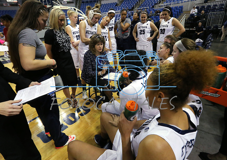 Nevada Head Coach Jane Albright, center, talks to her team during a women's basketball game against Air Force in Reno, Nev., on Saturday, Jan. 9, 2016. Nevada won 68-57.<br /> Photo by Cathleen Allison