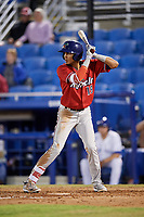 Fort Myers Miracle shortstop Nelson Molina (19) at bat during a game against the Dunedin Blue Jays on April 17, 2018 at Dunedin Stadium in Dunedin, Florida.  Dunedin defeated Fort Myers 5-2.  (Mike Janes/Four Seam Images)