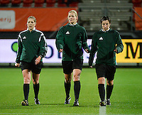 20160302 – ROTTERDAM ,  NEDERLAND : Referee Bibiana Steinhaus (M) with assistant referees Karoline Wacker (L) and Katrin Rafalski (R) pictured during the Olympic Qualification Tournament  soccer game between the women teams of Norway and Sweden, The first game for both teams in the Olympic Qualification Tournament for the Olympic games in Rio de Janeiro - Brasil, Wednesday 2 March 2016 at Stadion Woudestein in Rotterdam , Netherlands  PHOTO DIRK VUYLSTEKE