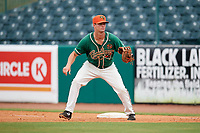Greensboro Grasshoppers first baseman Micah Brown (10) during a game against the Lakewood BlueClaws on June 10, 2018 at First National Bank Field in Greensboro, North Carolina.  Lakewood defeated Greensboro 2-0.  (Mike Janes/Four Seam Images)
