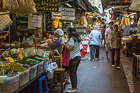 Bangkok, Thailand.  Street Scene in the Chinese Food Market, Chinatown.