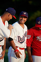 Auburn Doubledays catcher Adalberto Carrillo (8) during introductions before a game against the Hudson Valley Renegades on September 5, 2018 at Falcon Park in Auburn, New York.  Hudson Valley defeated Auburn 11-5.  (Mike Janes/Four Seam Images)