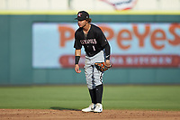 Kannapolis Intimidators second baseman Ramon Beltre (1) on defense against the Augusta GreenJackets at SRG Park on July 6, 2019 in North Augusta, South Carolina. The Intimidators defeated the GreenJackets 9-5. (Brian Westerholt/Four Seam Images)