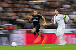 Kylian Mbappe (L) of Paris Saint Germain fights for the ball with Sergio Ramos of Real Madrid during the UEFA Champions League 2017-18 Round of 16 (1st leg) match between Real Madrid vs Paris Saint Germain at Estadio Santiago Bernabeu on February 14 2018 in Madrid, Spain. Photo by Diego Souto / Power Sport Images