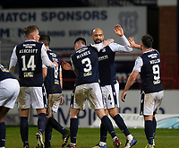 19th December 2020; Dens Park, Dundee, Scotland; Scottish Championship Football, Dundee FC versus Dunfermline; Liam Fontaine of Dundee is congratulated after scoring for 3-0 by Danny Mullen