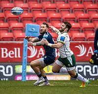 21st March 2021; AJ Bell Stadium, Salford, Lancashire, England; English Premiership Rugby, Sale Sharks versus London Irish; Byron McGuigan of Sale Sharks and James Stokes of London Irish look for the ball